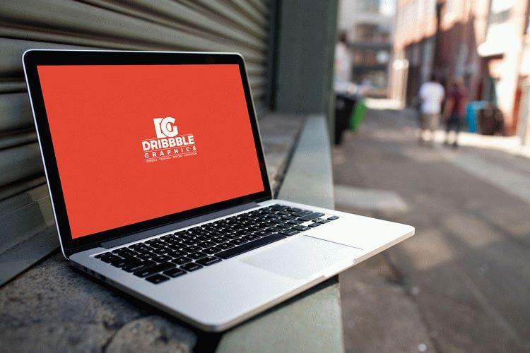 Free Laptop MockUp on City Street