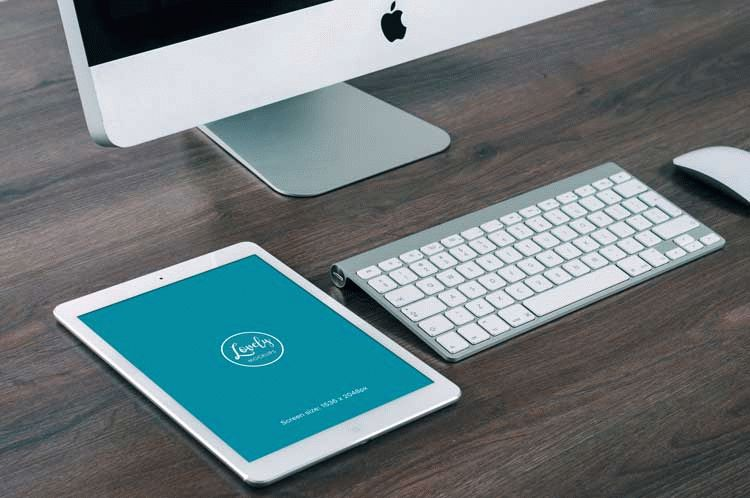 Apple iPad on the office desk free template