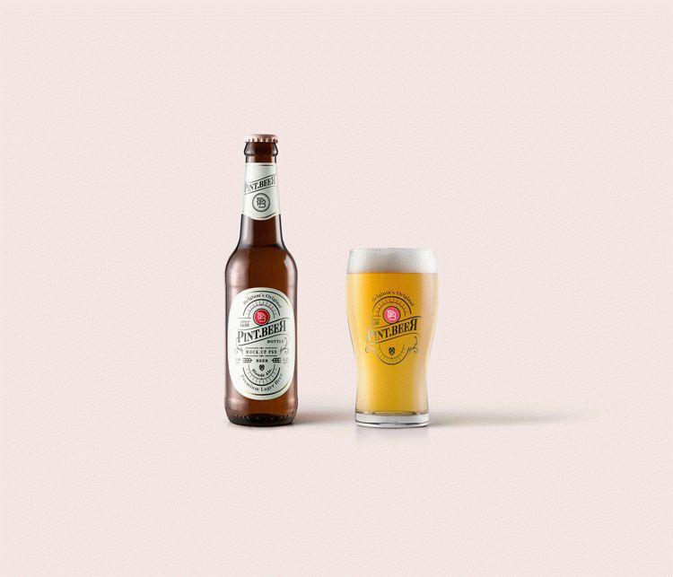 Free Amber Beer Bottle Mockup