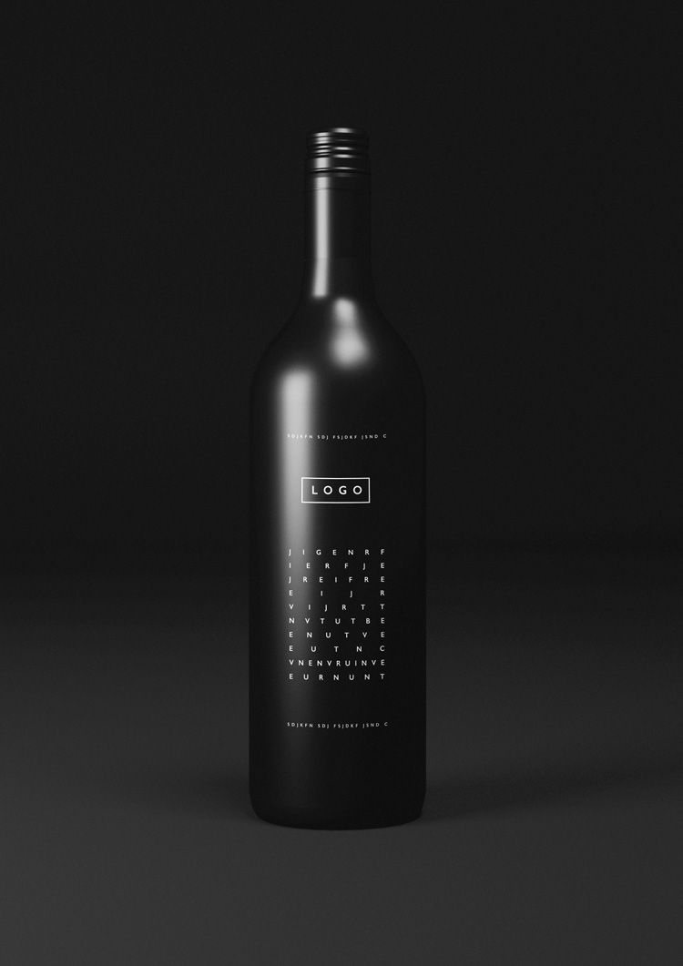 Free Black Wine Bottle Logo Mockup