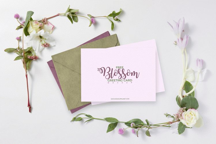 Free Blossom Greeting Card Mockup