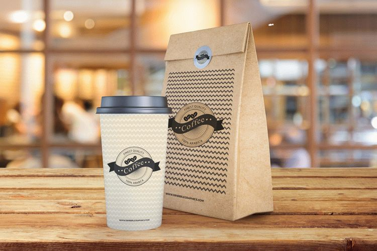 Free Coffee Cup and Paper Bag Mockup PSD