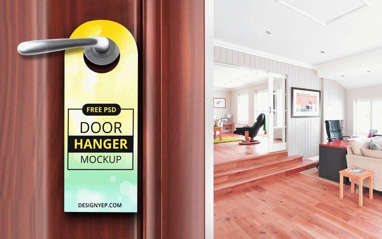 Free Door Hanger Mockup Template
