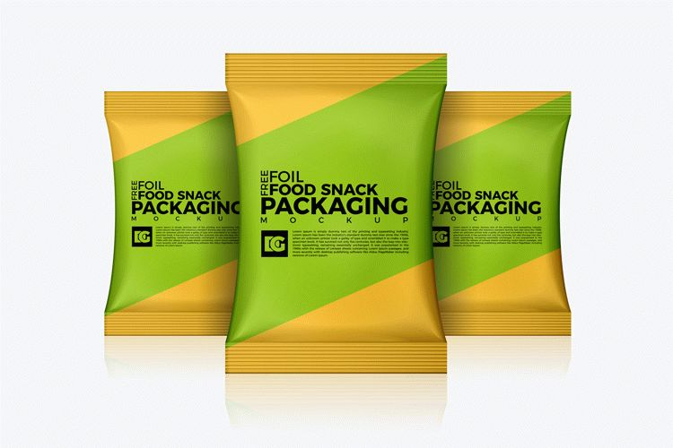 free foil food snack packaging mockup download