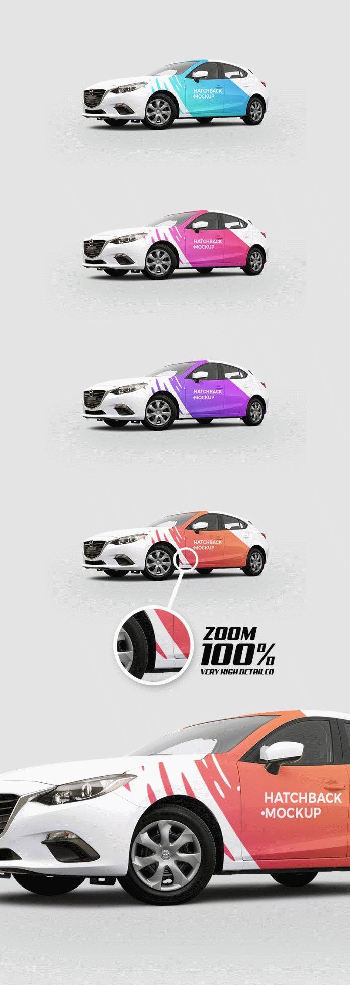 Free Hatchback Car Mockup PSD