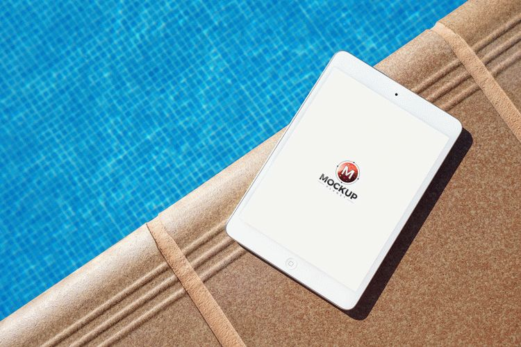 Free iPad Mockup Beside Swimming Pool