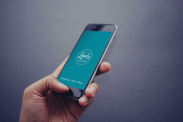 Free mobile mockup - iPhone with gray background