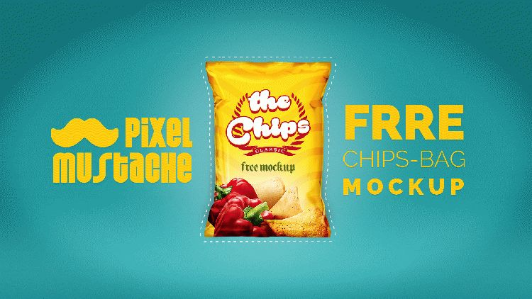 Free PSD Realistic Chips Bag Mockup