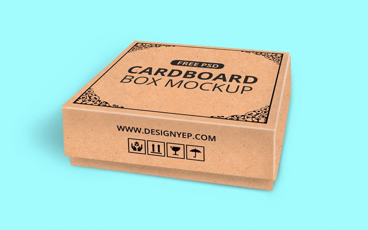 Free Realistic Cardboard Box Mockup