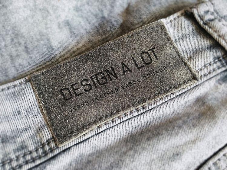 Free Realistic Jeans Label Mockup