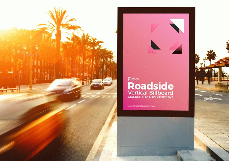 Free Roadside Vertical Billboard MockUp