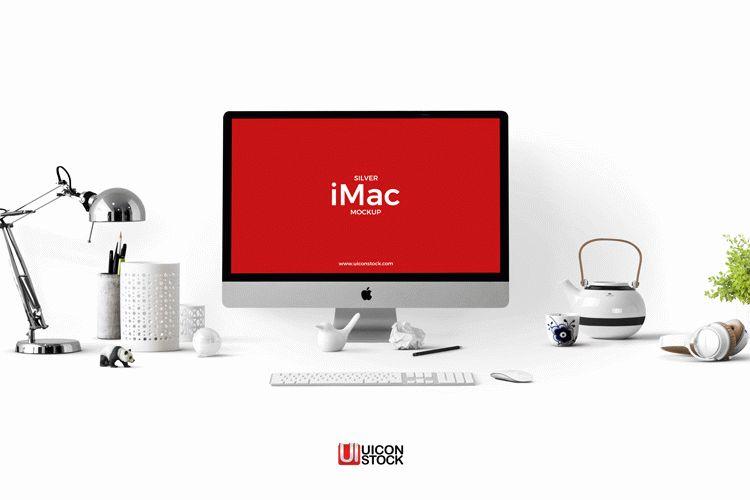 Free Silver iMac Mockup PSD Template