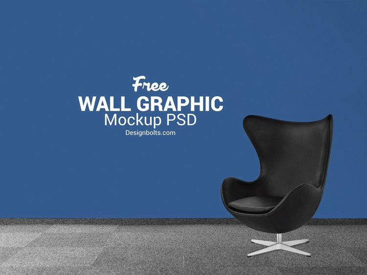 Free Wall Decal Mockup PSD for Dark Background