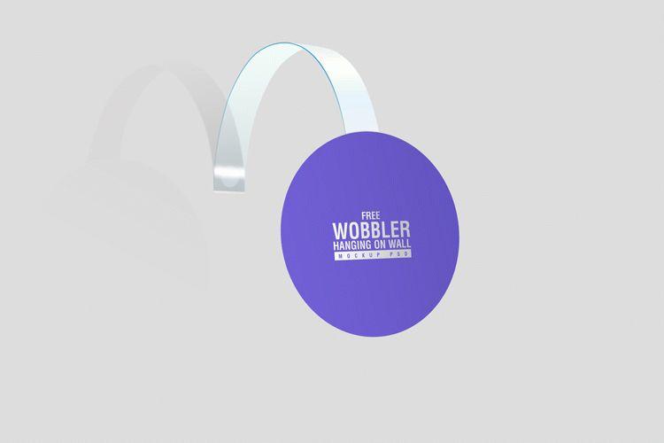 Free Wobbler Hanging on Wall Mockup PSD