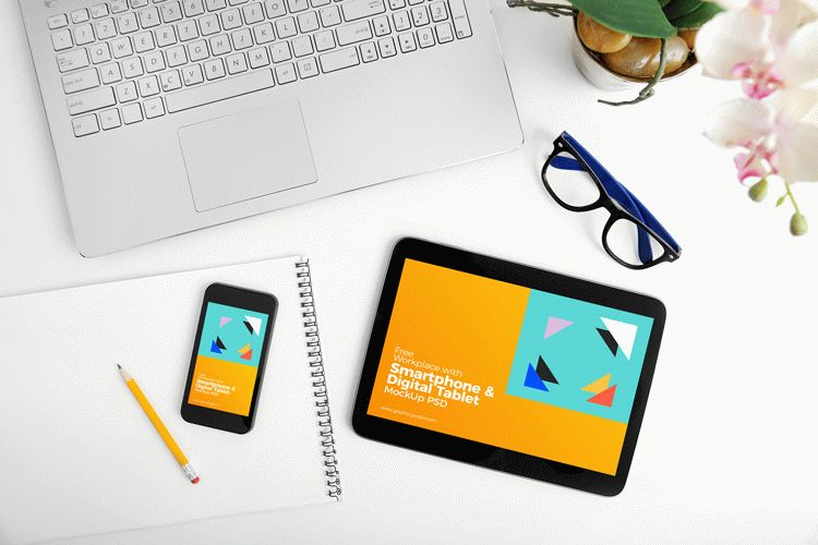 Free Workplace With Smartphone & Digital Tablet MockUp