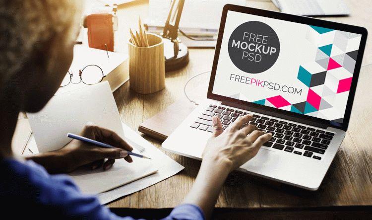 MacBook Workplaces Mockup Free PSD
