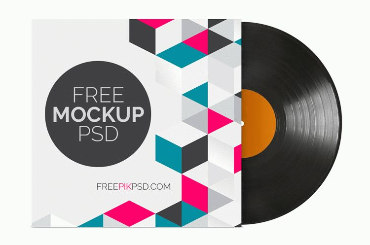 Vinyl Record with Cover Mockup Free Psd