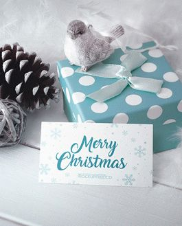 Business Card Christmas Scenery Mockup With Logo