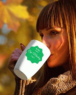 Cup Autumn Scenery Mockup With Logo
