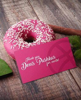 Donut Business Card Mockup With Logo