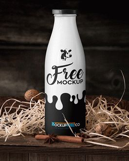 Milk Bottle Mockup With Logo