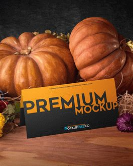 Postcard Autumn Scenery Mockup With Logo