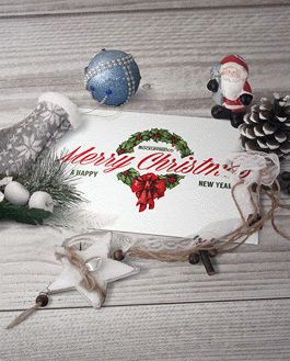 Postcard Christmas Scenery Mockup With Logo