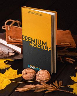 Notebook Autumn Scenery Mockup With Logo