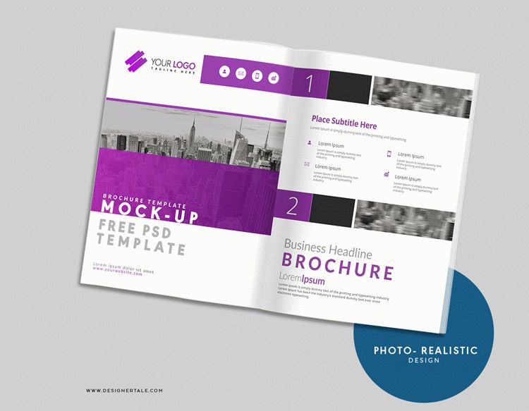 US letter size brochure mockup Photoshop free files