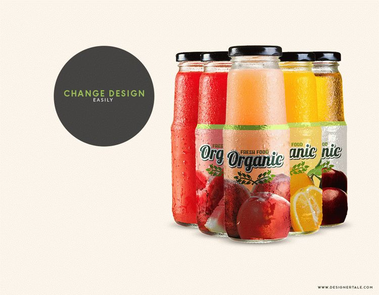 Free fruit juice glass container mockup
