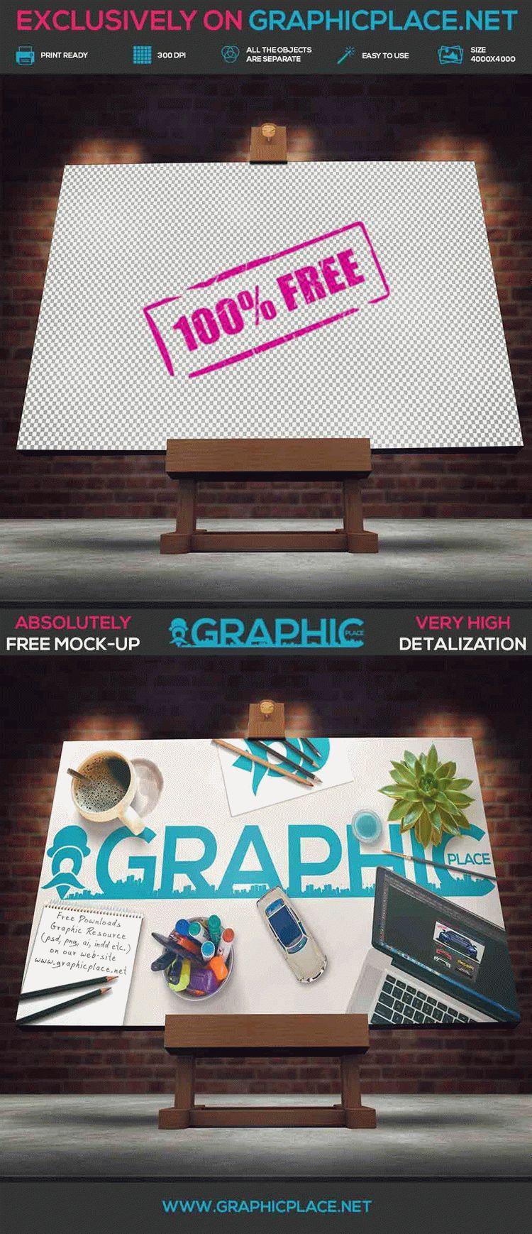 Studio Easel - Free PSD Mockup