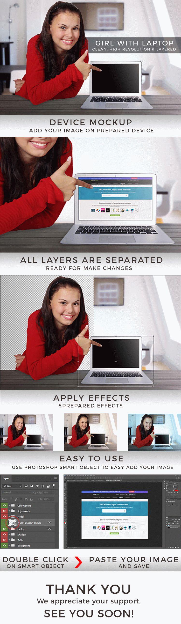Girl With Laptop Mockup FREE MOCKUP
