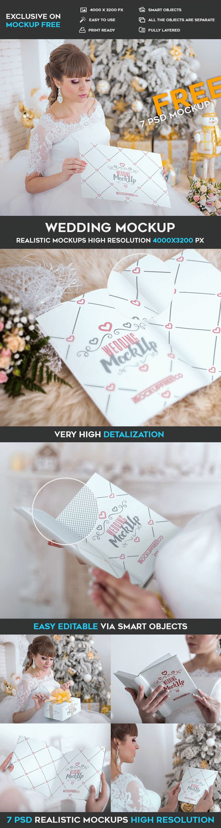 Wedding invitation, poster, book - 7 Free PSD Mockups