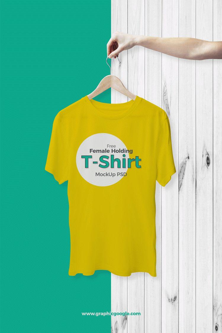 Free Female Holding T-Shirt Mockup PSD