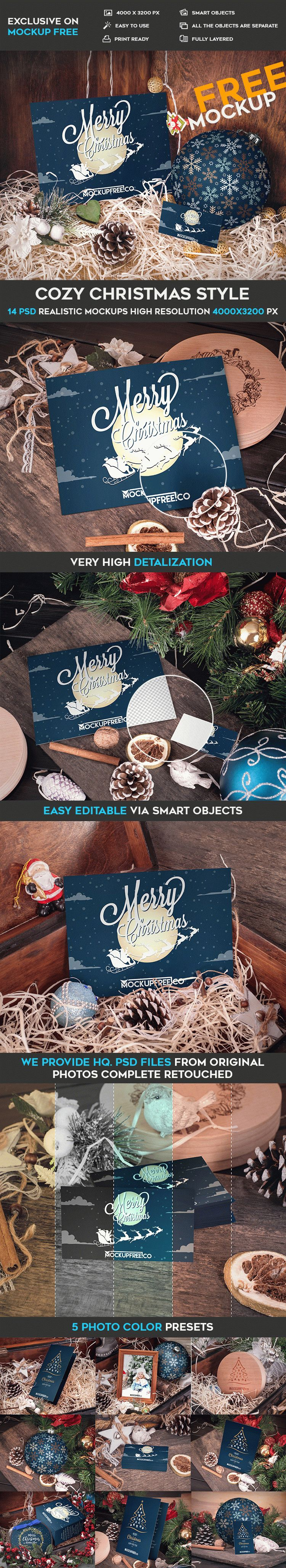 Cozy Christmas Style – 14 Free PSD Mockups