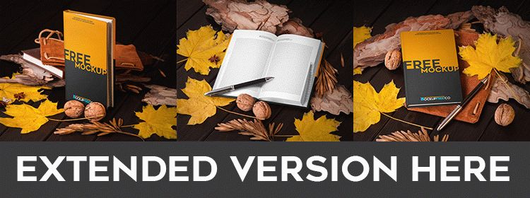 Notebook in Autumn Scenery - Free PSD Mockup