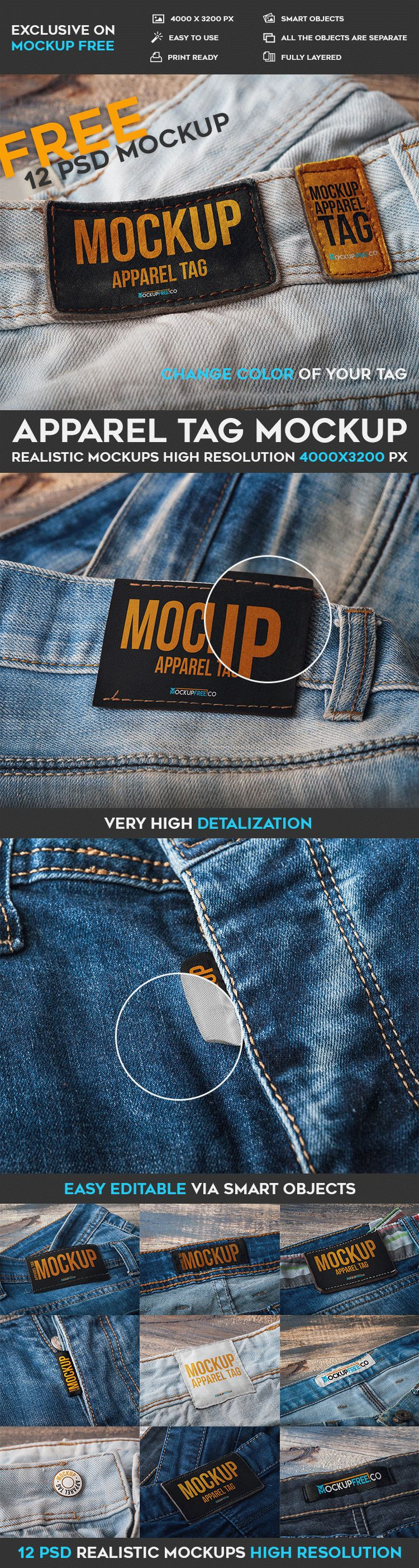 Apparel Tag - 12 Free PSD Mockups