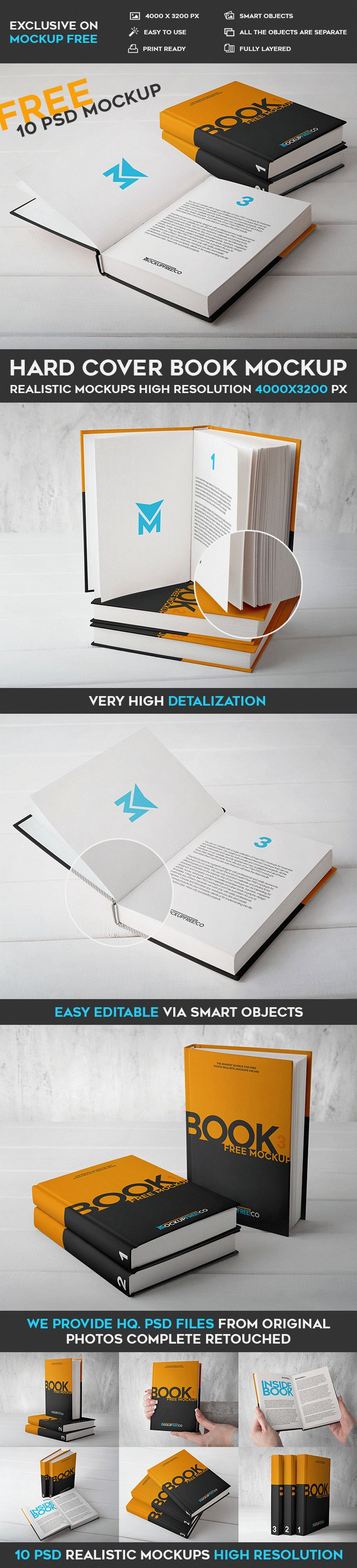 Hard Cover Book - 10 Free PSD Mockups