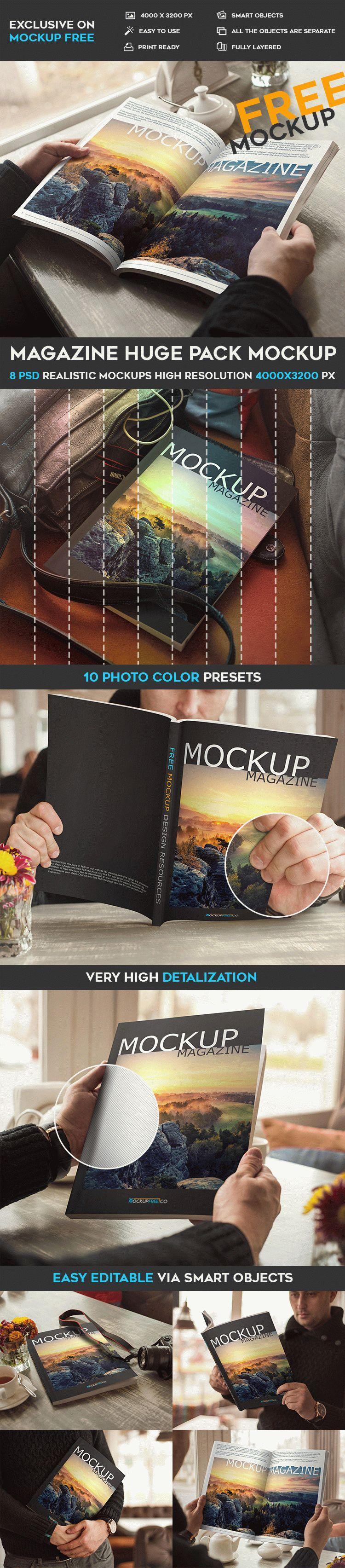 Magazine Huge Pack – 8 Free PSD Mockups