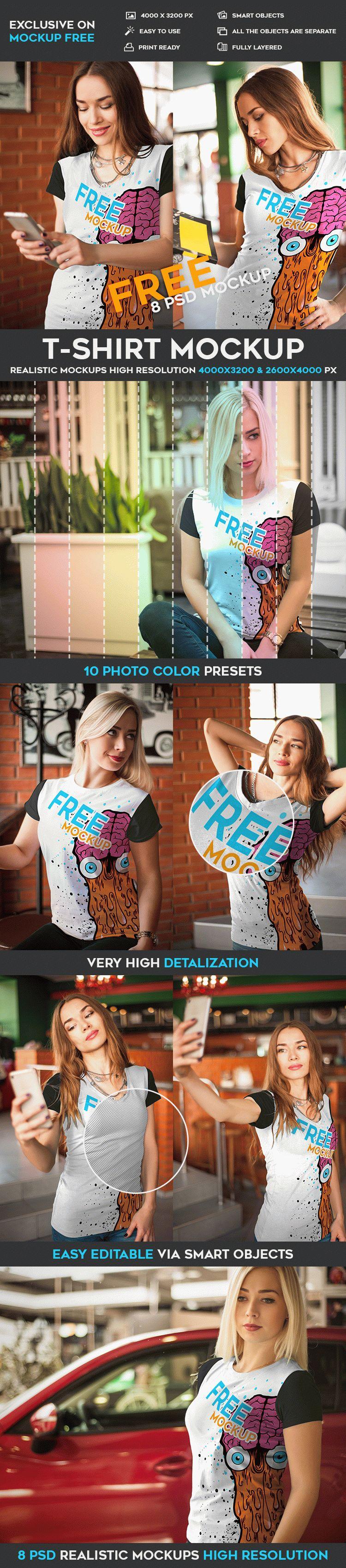 T-Shirt - 8 Free PSD Mockups