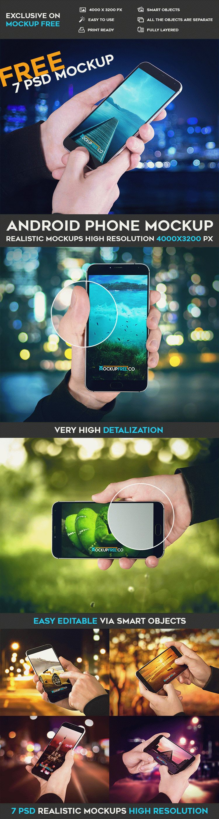 Android Phone - 7 Free PSD Mockups