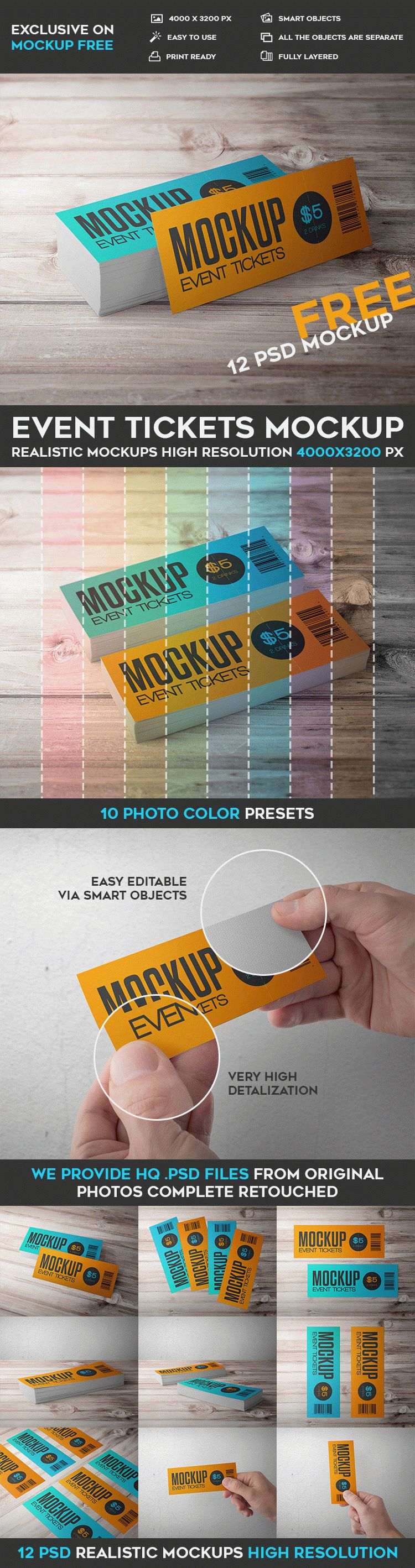 Event Tickets - 12 Free PSD Mockups