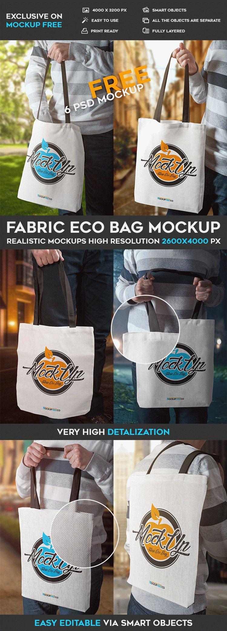 Fabric Eco Bag - 6 Free PSD Mockups