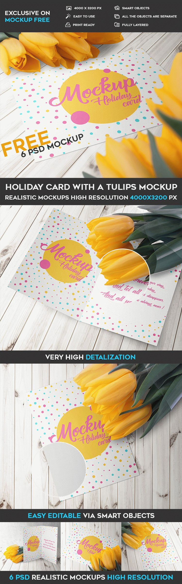 Holiday Card With A Tulips - 6 Free PSD Mockups