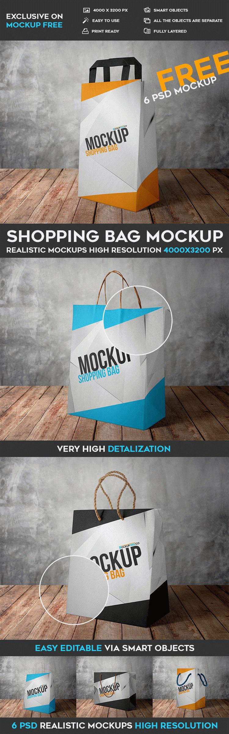 Shopping Bag - 6 Free PSD Mockups