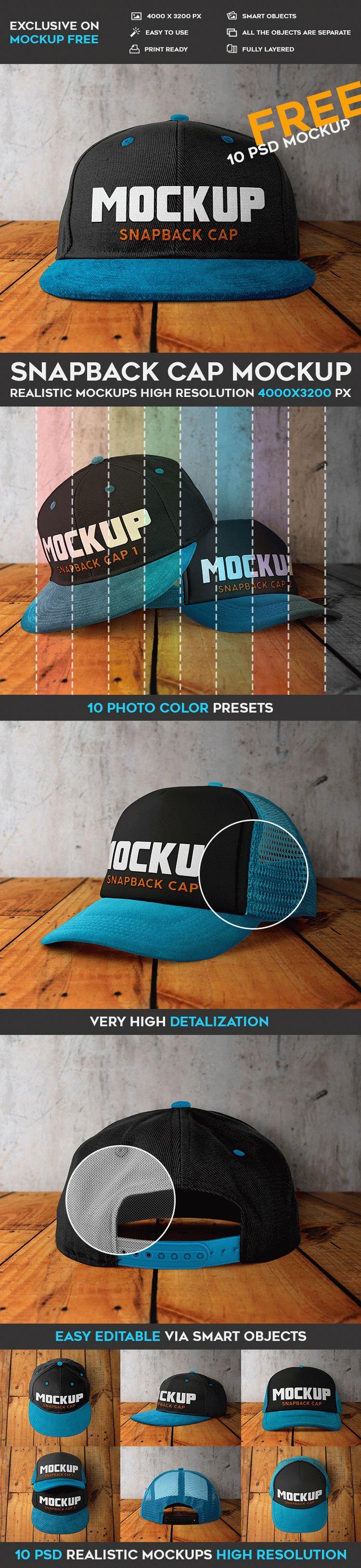 Snapback Cap - 10 Free PSD Mockups