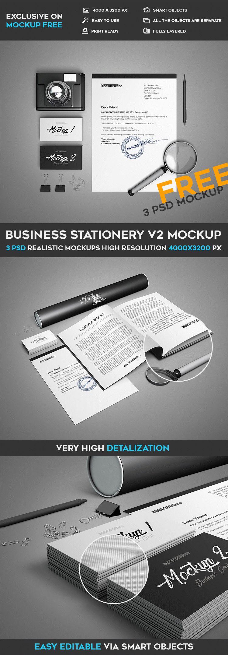 business stationery v2 3 free psd mockups download