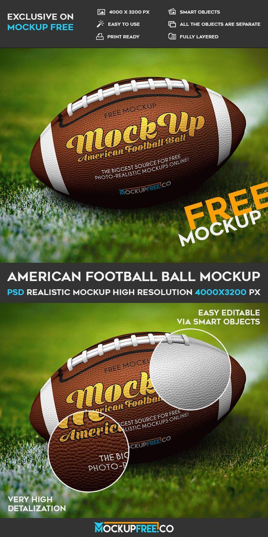 American Football Ball - Free PSD Mockup | Download