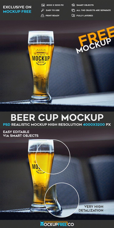 Beer Cup - Free PSD Mockup