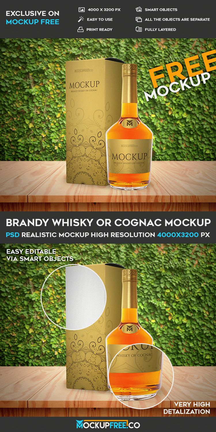 Brandy Whisky or Cognac - Free PSD Mockup